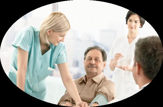 an elderly man and a caregiver
