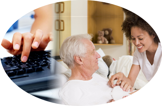 a caregiver accompanying the elderly